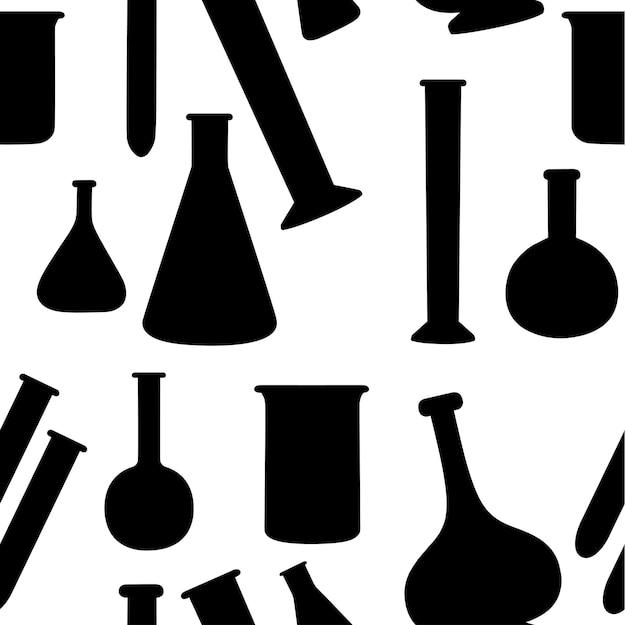 Padrão sem emenda de frascos de química de laboratório com diferentes tamanhos e formas e preenchidos com ilustração vetorial plana de líquido sobre fundo branco.