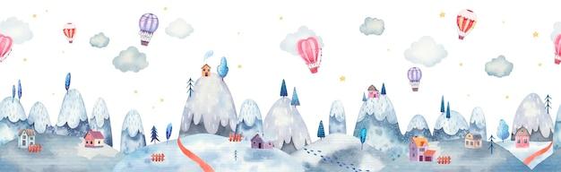 Padrão sem emenda de fronteira de paisagem montanhosa com árvores, casas e balões de ar quente