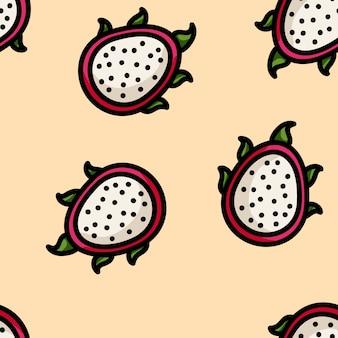 Padrão sem emenda de fruta de dragão de estilo plano bonito dos desenhos animados