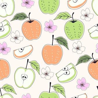 Padrão sem emenda de frutas abstratas de maçã tropical com flores e fatias