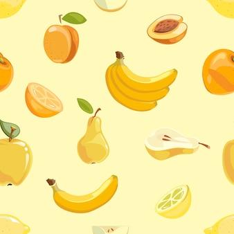 Padrão sem emenda de frutas amarelas