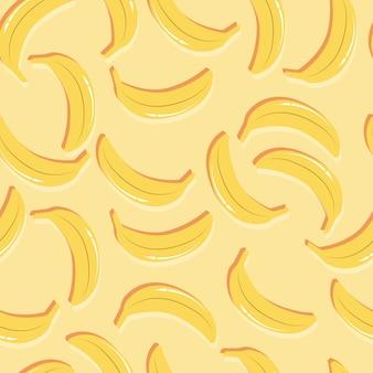 Padrão sem emenda de frutas, bananas com sombra dupla sobre fundo amarelo claro. frutas tropicais exóticas.