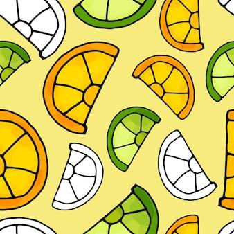 Padrão sem emenda de frutas cítricas em um fundo amarelo claro. laranja, limão e fatias de lima