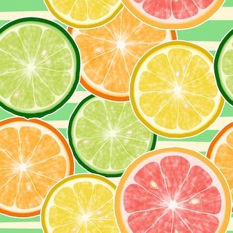 Padrão sem emenda de frutas cítricas. limão, laranja, tangerina, toranja