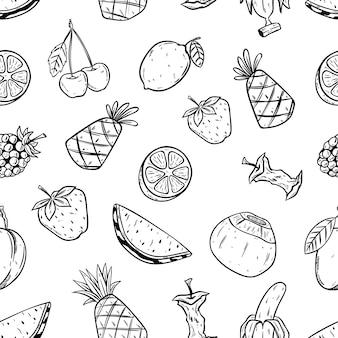 Padrão sem emenda de frutas com estilo de desenho