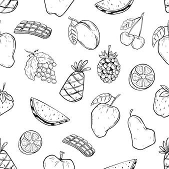 Padrão sem emenda de frutas com estilo doodle
