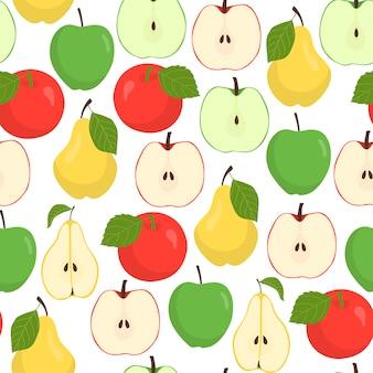 Padrão sem emenda de frutas com maçãs e peras