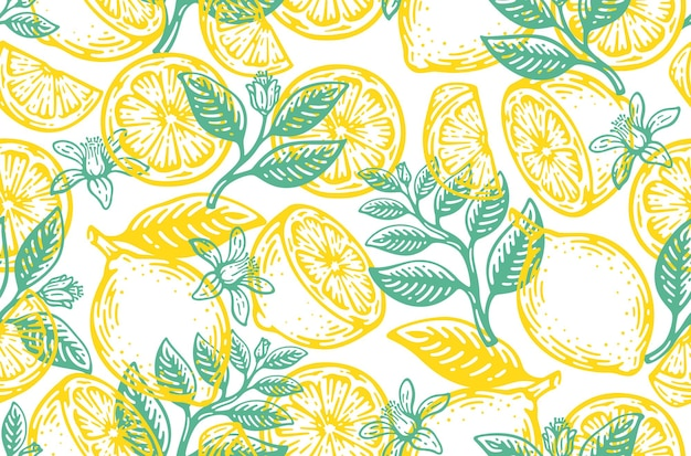 Padrão sem emenda de frutas de limão vintage