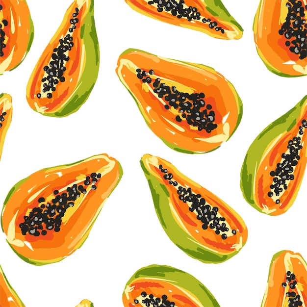 Padrão sem emenda de frutas de mamão.
