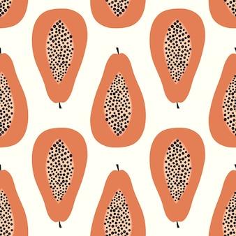Padrão sem emenda de frutas de mamão