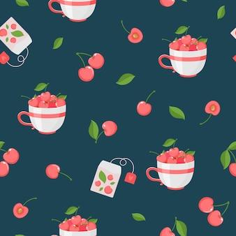 Padrão sem emenda de frutas e folhas de cereja, saquinhos de chá. vetor, fundo escuro.