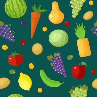 Padrão sem emenda de frutas e legumes