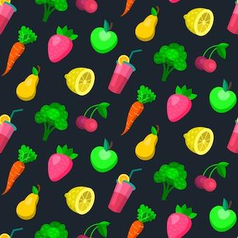 Padrão sem emenda de frutas e vegetais padrão em moderno estilo simples.
