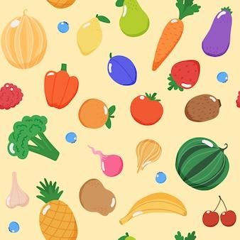 Padrão sem emenda de frutas e vegetais