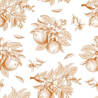 Padrão sem emenda de frutas laranja, folhas, ramos e flores desabrochando em estilo de gravura