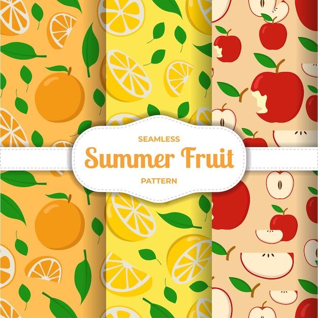 Padrão sem emenda de frutas maçã limão fatia de laranja