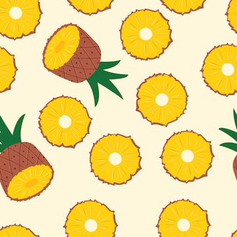 Padrão sem emenda de frutas, metades de abacaxi e fatias sobre fundo amarelo claro. frutas tropicais exóticas.