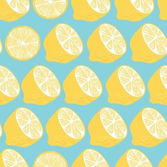 Padrão sem emenda de frutas, metades de limão e fatias sobre fundo azul brilhante. frutas tropicais exóticas.