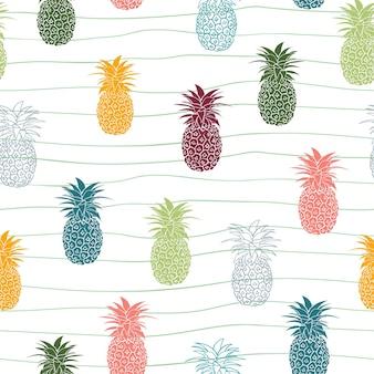 Padrão sem emenda de frutas tropicais de abacaxi colorido desenhado à mão no fundo linear