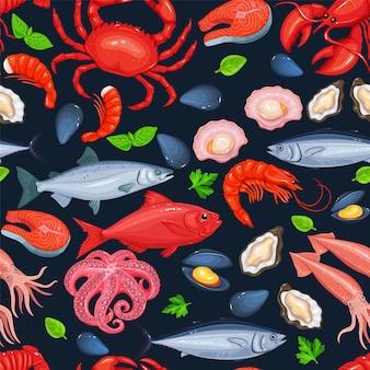 Padrão sem emenda de frutos do mar.