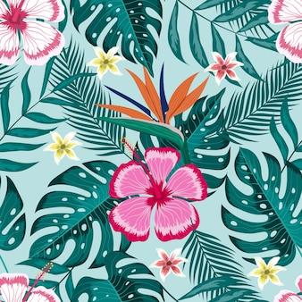 Padrão sem emenda de fundo da natureza com folhas tropicais e lindas flores