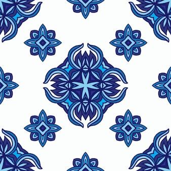 Padrão sem emenda de fundo étnico azul e branco de porcelana abstrata