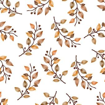 Padrão sem emenda de galho e folhas marrons