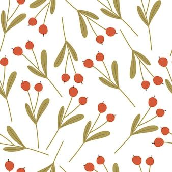 Padrão sem emenda de galhos de inverno com frutas em um fundo branco. clima de inverno. ilustração em vetor mão desenhada.
