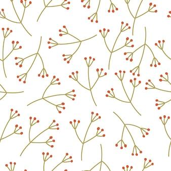 Padrão sem emenda de galhos de inverno em um fundo branco. clima de inverno. ilustração em vetor mão desenhada.