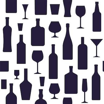 Padrão sem emenda de garrafas e copos. ilustração vetorial.