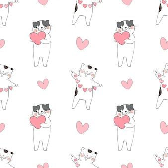 Padrão sem emenda de gato bonito com pequenos corações de coração