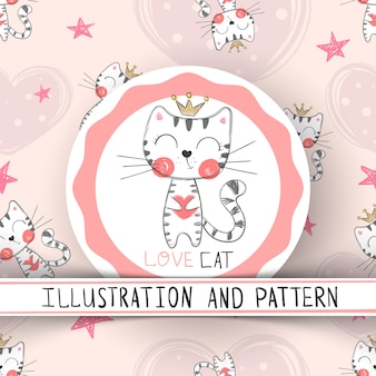 Padrão sem emenda de gato bonito dos desenhos animados