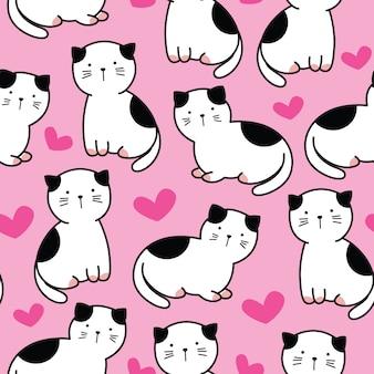 Padrão sem emenda de gato de bebê fofo dos desenhos animados
