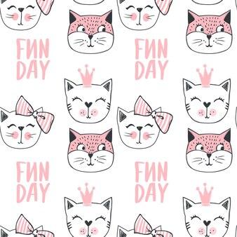 Padrão sem emenda de gato de moda. fundo de gatinho fofo no estilo de desenho. animais dos desenhos animados. doodle kitty. estampa elegante.