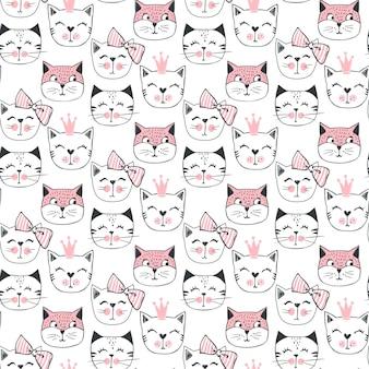 Padrão sem emenda de gato de moda. ilustração de gatinho fofo no estilo de desenho. fundo de animais dos desenhos animados. doodle kitty. ideal para tecido, papel de parede, papel de embrulho, têxtil, roupa de cama, impressão de t-shirt.