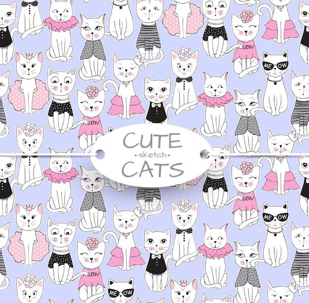 Padrão sem emenda de gato engraçado de vetor. ilustração de mão desenhada gatinho fofo. fundo de animais dos desenhos animados elegantes. ideal para tecido, papel de parede, papel de embrulho, têxtil, roupa de cama, impressão de t-shirt.