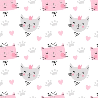 Padrão sem emenda de gato fofo com pegada de coração isolada no branco design infantil têxtil