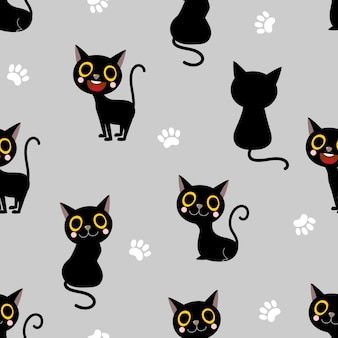 Padrão sem emenda de gato preto bonito
