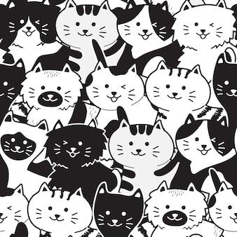 Padrão sem emenda de gato preto & branco bonito