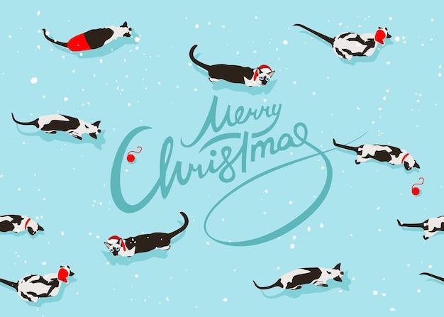 Padrão sem emenda de gato siamês em fundo vermelho com letras de feliz natal
