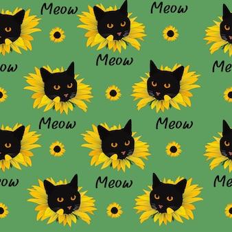 Padrão sem emenda de gato sobre um fundo verde. cabeça de gatinho, girassol, mew