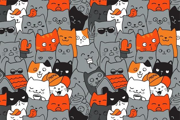Padrão sem emenda de gatos bonitos