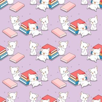 Padrão sem emenda de gatos e livros