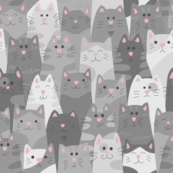 Padrão sem emenda de gatos em estilo doodle e cartoon
