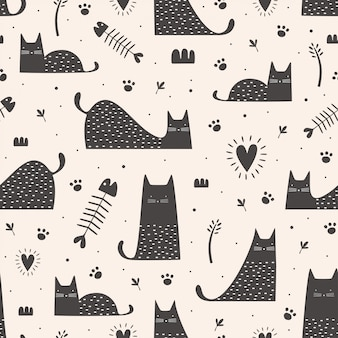 Padrão sem emenda de gatos pretos bonitos com mão desenhada infantil