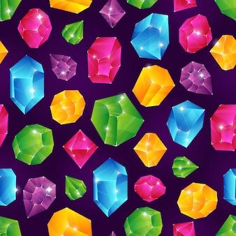 Padrão sem emenda de gema. conjunto de textura infinita de pedras preciosas de diamantes jóias de diamante precioso rubi pedra preciosa brilhante