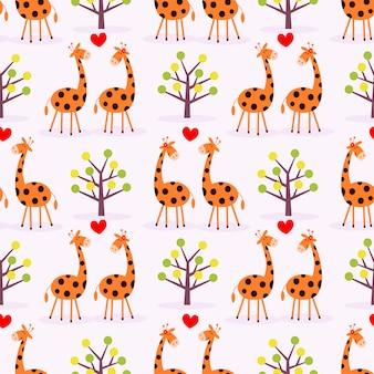 Padrão sem emenda de girafa casal fofo.