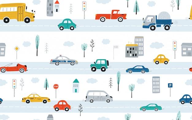 Padrão sem emenda de giro infantil com carros, semáforos e sinais de trânsito em um fundo branco. ilustração da estrada em um estilo cartoon.
