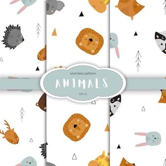 Padrão sem emenda de giro mão desenhada animais adormecidos. zoológico de desenhos animados. ilustração. animal para design de produtos infantis em estilo escandinavo.
