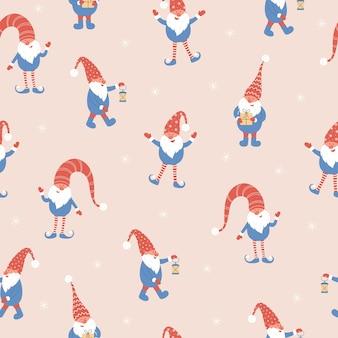 Padrão sem emenda de gnomos e flocos de neve de natal fofos. ilustração vetorial com anões de chapéus vermelhos